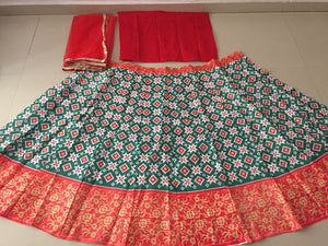 Red Green Banglori Satin New Style Lehenga Choli India Online