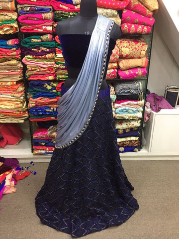 Navy Blue Latest Design Bollywood Designer Lehenga Online
