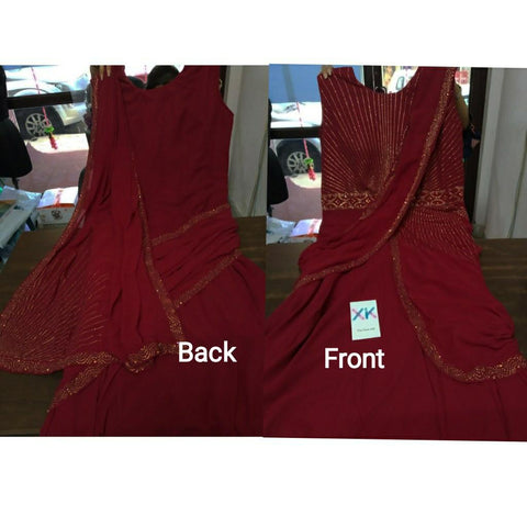 Red Georgette Ready To Wear Latest Gown Sarees Indian Online