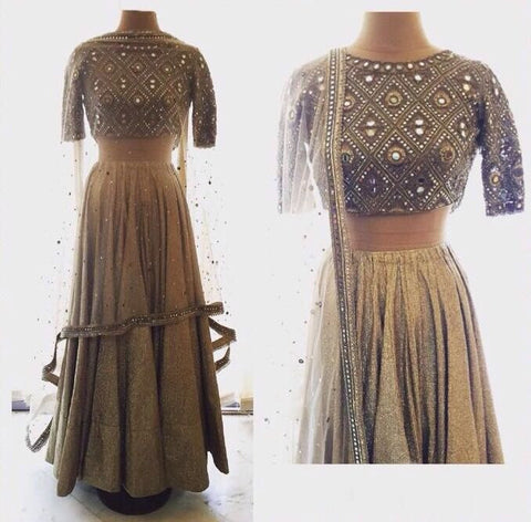 Antique Gold Color Wedding Lehenga Designs ,Indian Dresses - 1