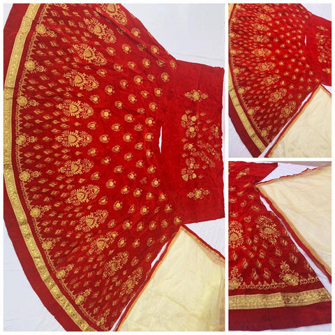 Red Velvet Embroidered New Party Wear Lehenga Choli Set Online