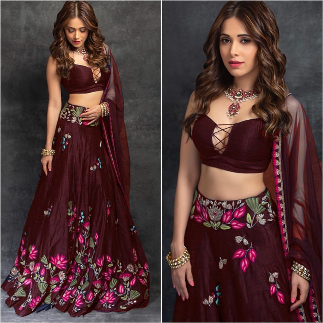 Maroon Embroidery Taffeta Silk Party Wear Lengha Choli Online Shopping