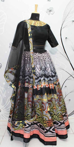 Black Digital Printed Silk Indian Party Wear Designs Of Lehengas