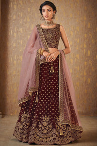 Embroidered Maroon Silk Indian Dresses Latest Lehenga Style Online