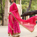 Bright Pink Georgette Latest Fashion Kurti Palazzo Suits Online Buy