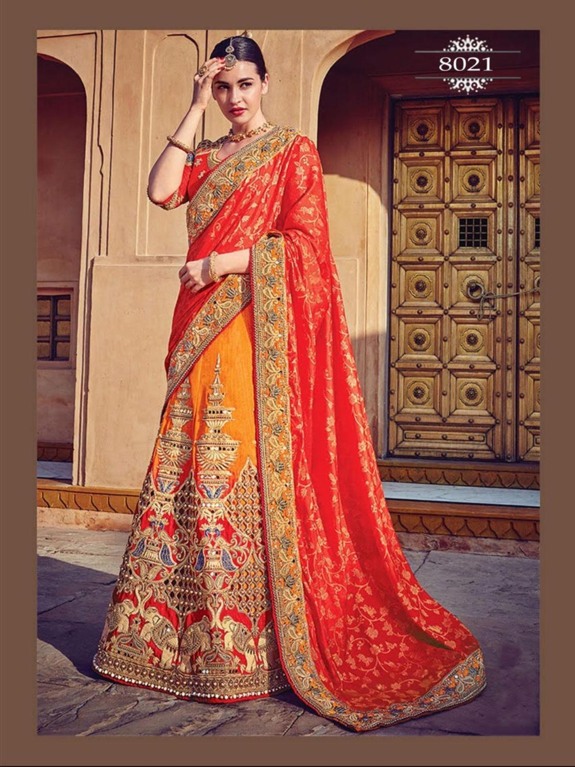 194d3dc609 Yellow And Tomato Red Best Wedding Lehenga Indian