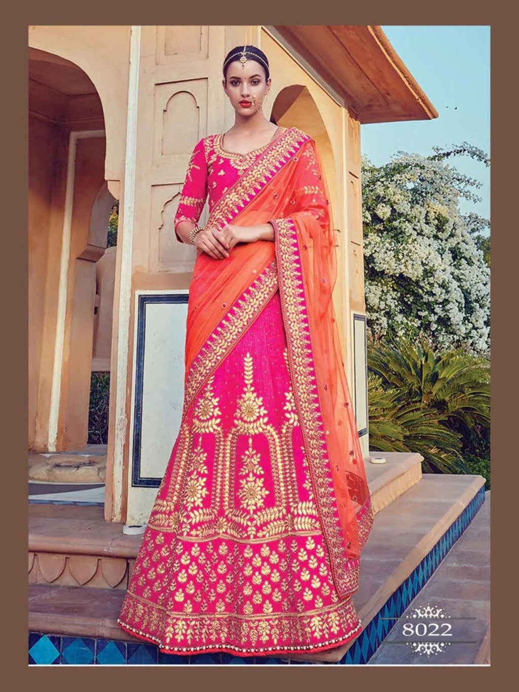 Pink Embroidered Banarsi Silk Wedding Lehenga Collection