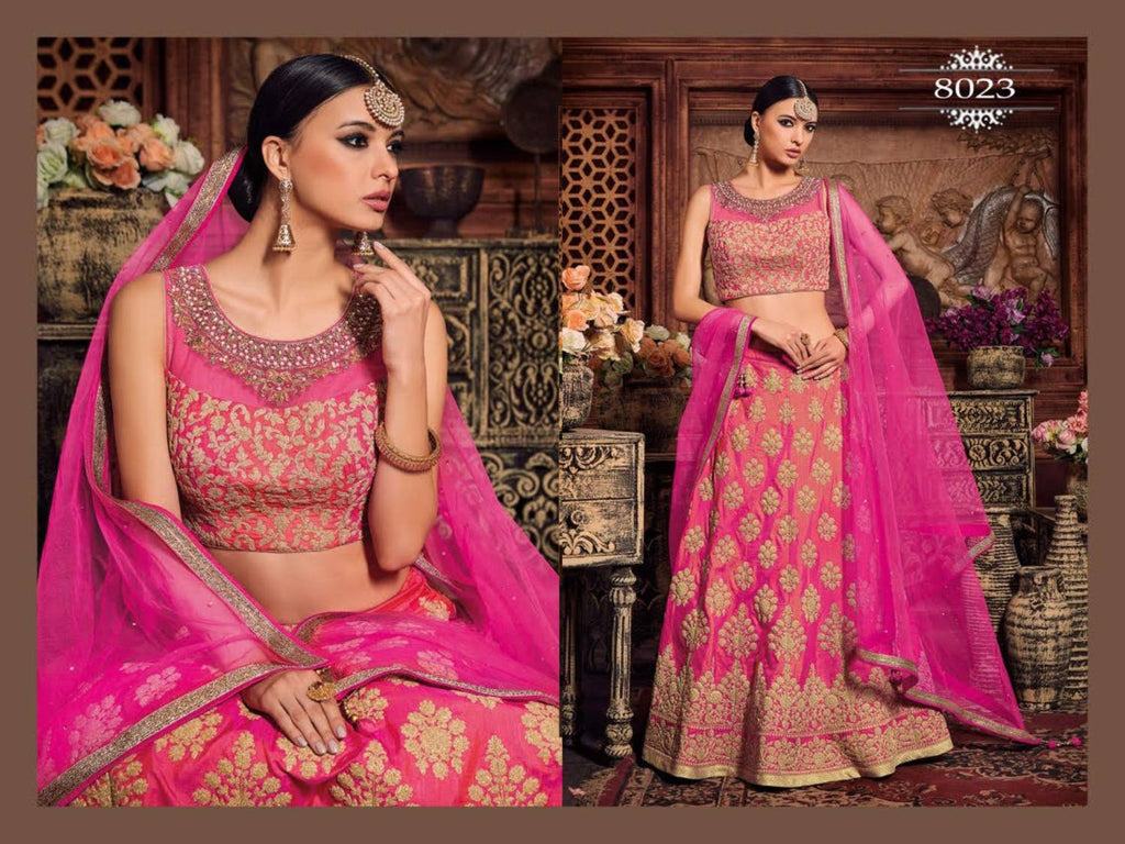Charming Pink Embroidery Work Wedding Ghagra Blouse Designs