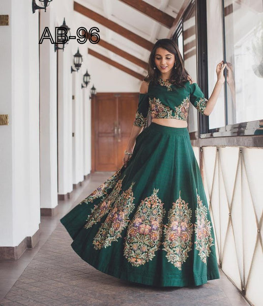 Green Butta Embroidery Work Bollywood Lehengas Collection