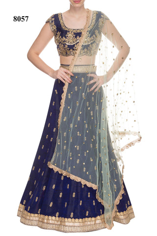 Navy Blue And Sea Green Bollywood Indian Lehnga Choli
