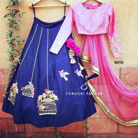 Pink And Navy Blue Bollywood Replica Indian Ghagra