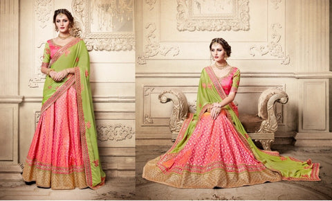 Pink And Light Parrot Green Indian Lehenga Choli Designs