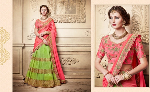 Pink And Parrot Green Designer Wedding Lehenga