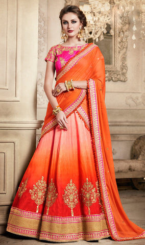 Orange And Gajri Color Lehenga Online Shopping India