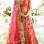 Gajri Embroidery Wedding Lehenga Choli Shopping Online