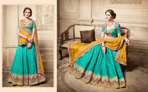 Rama Green And Yellow Party Wear Lehenga Online Shopping