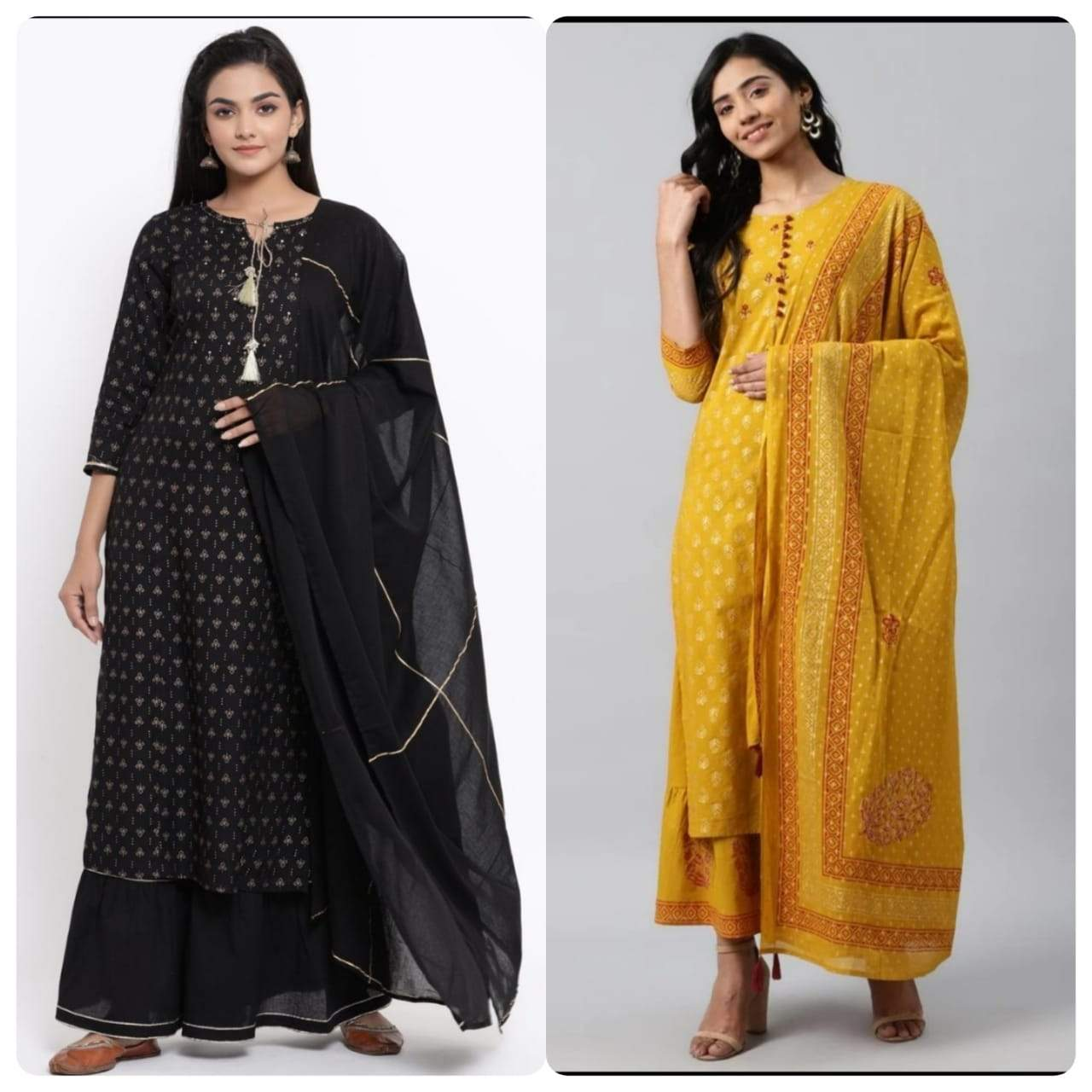Buy Beautiful Mustard  And Black  Jaipuri Kurta Sharara with Dupatta