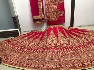 Red Embroidery Wedding Designer Relica Lehenga Choli With Price