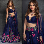 Navy Blue Embroidered Party Lehenga Choli Online Shopping With Price