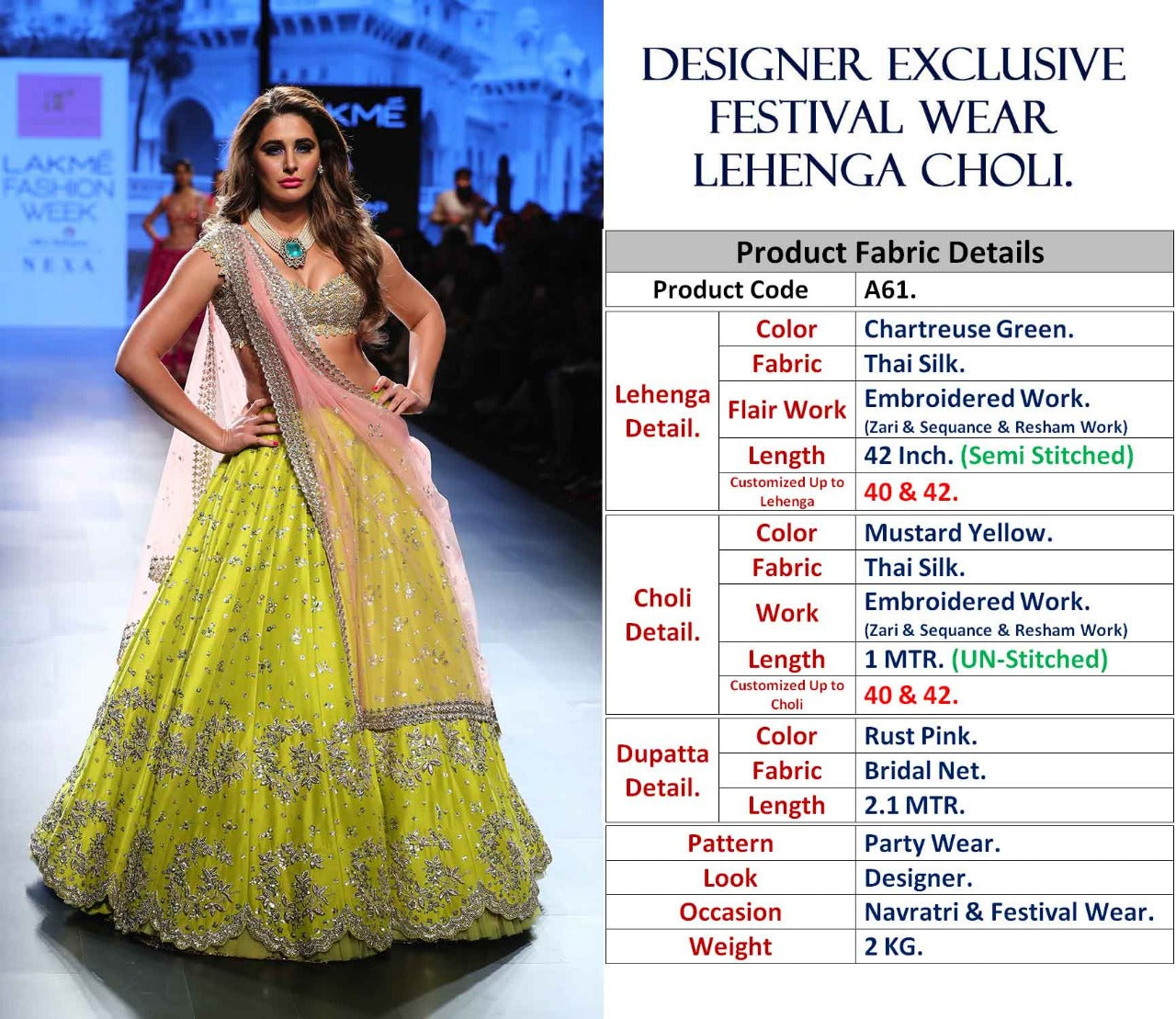 Chartreuse Green Silk New Wedding Wear Designer Choli Designs For Lehengas