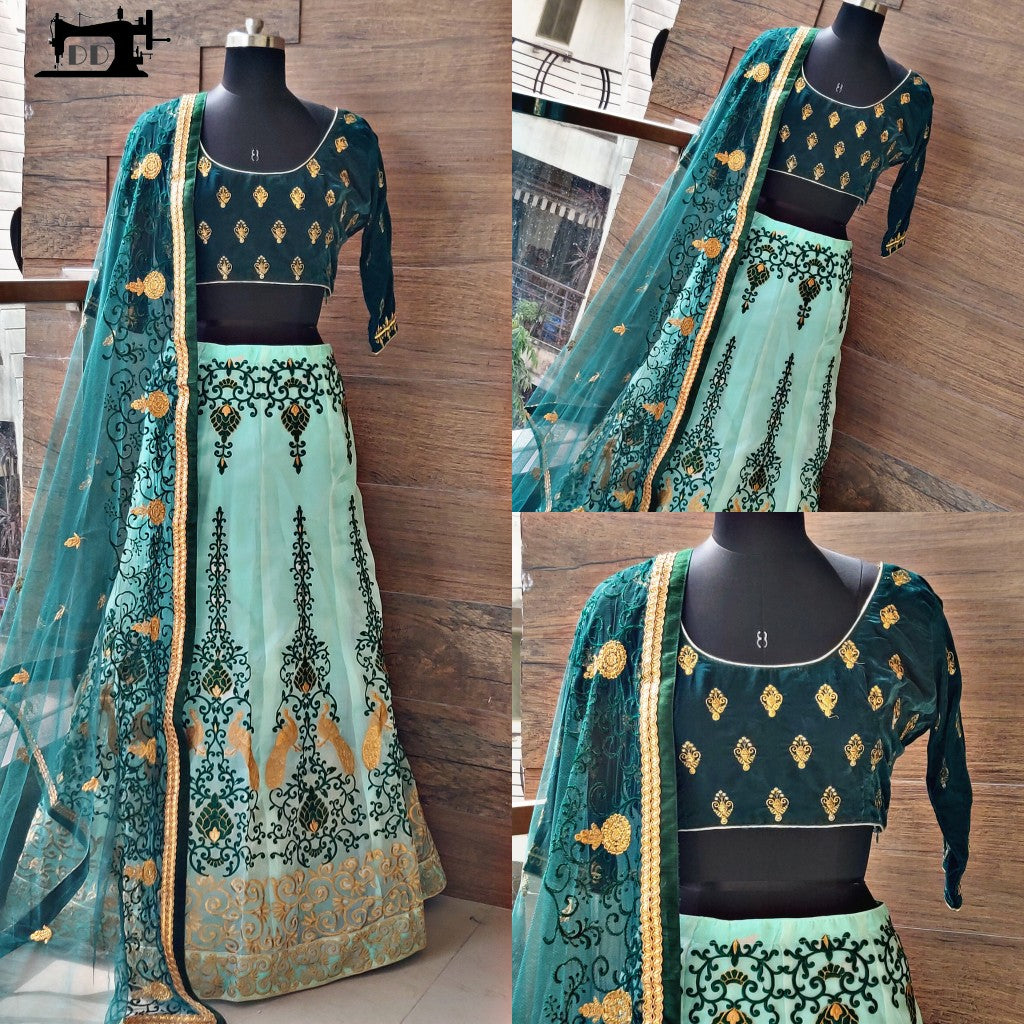 Pastel Green Khadi Organza Embroidered Party Lehenga Choli Online