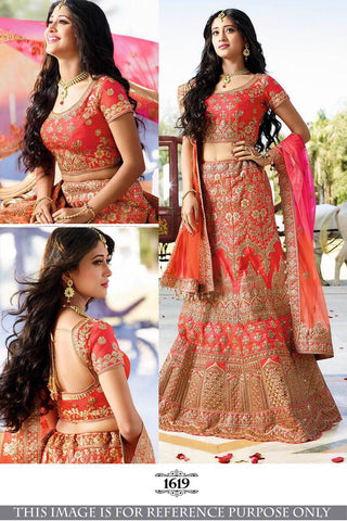 Tomato Red Silk Bollywood Lehenga Choli Online Shopping