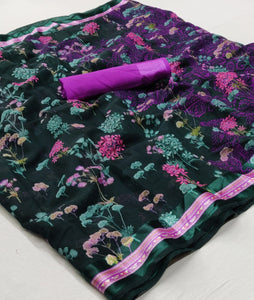 Black And Purple Floral Linen Saree Digital Print And Blouse