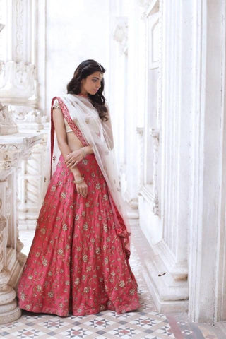 Lotus Pink Silk Party Wear New Latest Lehenga Choli