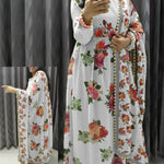 White Georgette Floral Print Gown Style Indian Dress Salwar Kameez