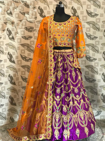 Purple Malai Satin Embroidered Bollywood Lengha Choli Online