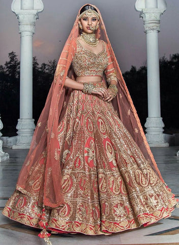 Peach Ruby Silk Embroidered Party Wear Lengha Online