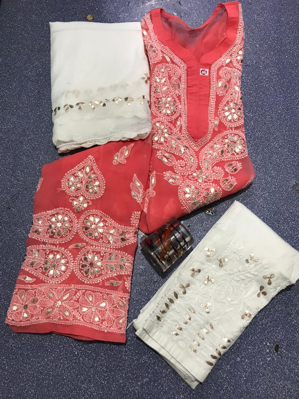 Peach Pink Chikankari Kurti 3 pc set Georgette Gota patti Combo