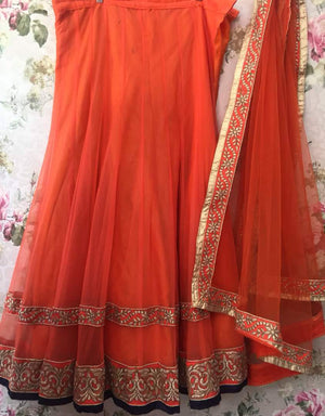 Orange Net Simple Bollywood Lehenga Choli Online