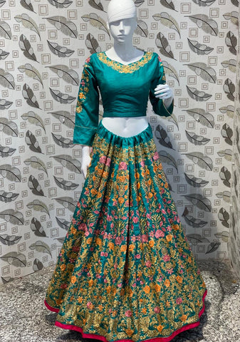 Deep Green Thai Silk Embroidered Party Wear Buy Indian Lehenga Online