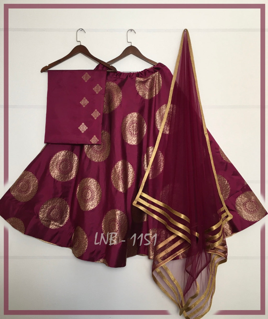 Maroon Jacquard Banarasi Silk Traditional Indian Lehenga Online