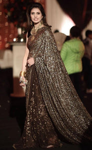 Beige Brown Georgette Sequins Work Party Saree Online Shop