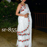 White Embroidered Georgette Beautiful Ruffle Saree Designs Online