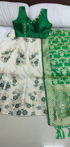 Cream Green Banarasi Lehenga Online Shopping With Price