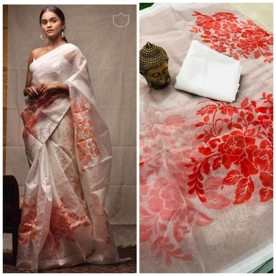 White and Red Floral Digital Printed Latest Organza Saree and Blouse Set