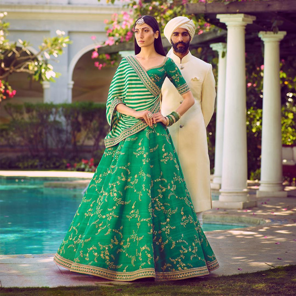 Charming Green Phantom Silk Bollwood Ghagra Cholis Online