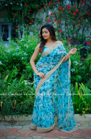 Lovely Blue Digital Floral Print Latest  Party Wear Sarees Shop Online