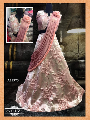 Beautiful Misty Rose Silk Party Wear Lehengas In Fashion