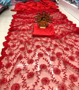 Red Net and Silk Half and Half New Indian Party Wear Saree Online
