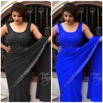 Blue Georgette With Sequins Border Ladies Sarees Online Shopping India