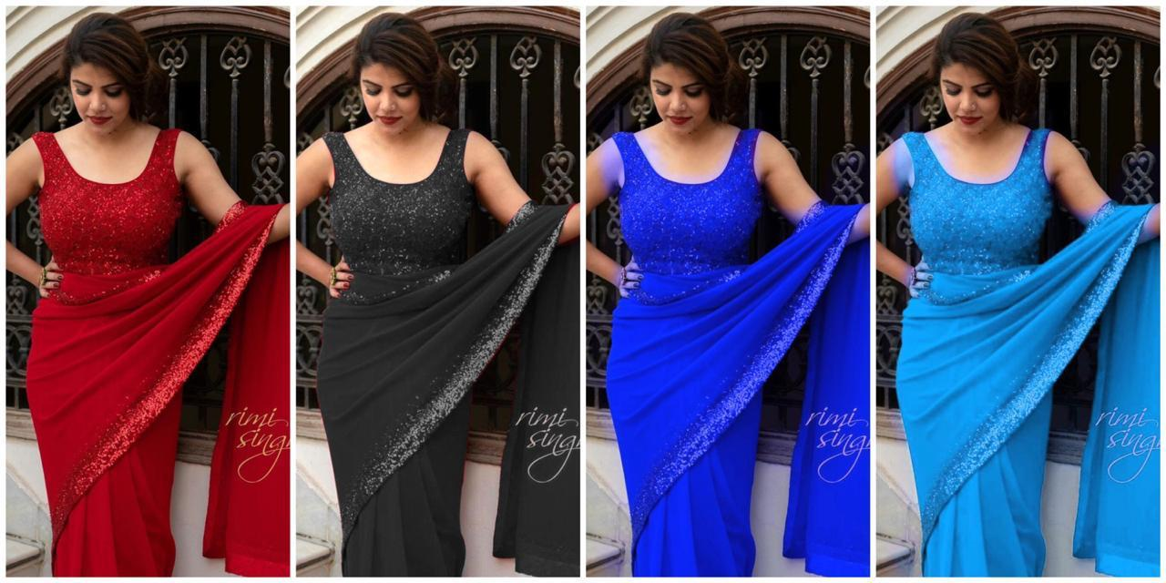 Light Blue Georgette With Sequins Border Buy Fancy Sarees Online