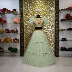 Pista Green Net Three Layers Crop Top Party Lehenga Online