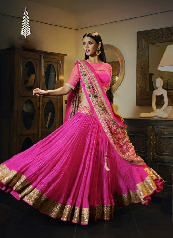 Pink Georgette Ghagra Choli Online India