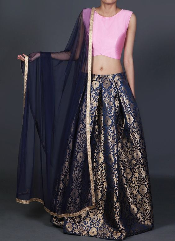Sassy Pink And Blue Brocade Indian Designer Lehenga ,Indian Dresses