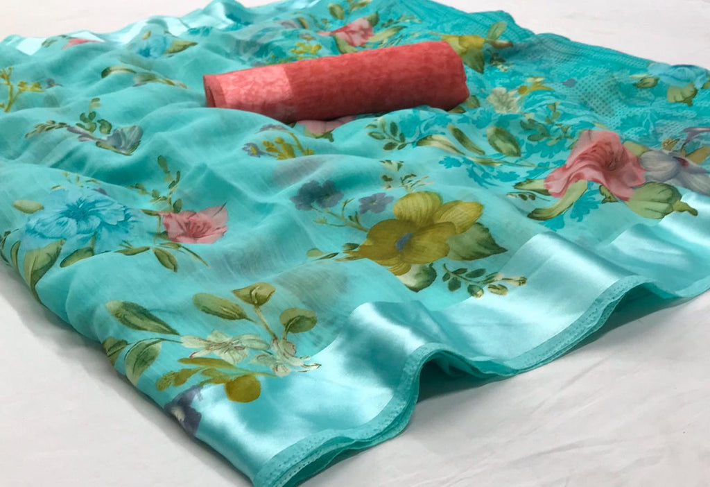 Light Blue Floral Linen Saree Digital Print And Blouse