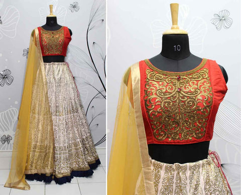 Light Peach Phantom Silk Festive Dresses Indian Lehenga Online Shopping